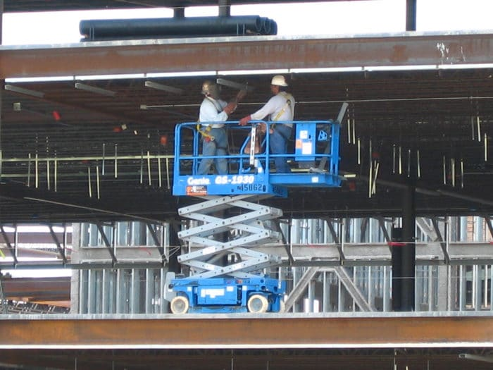 Construction Worker Hit in the Head by Scissor Lift